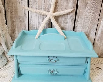 Turquoise Jewelry Box Dresser Valet Coastal Style - Jewelry Organizer - Wood Valet with Jewelry Holder - Light Aqua Turquoise