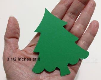 Die Cut Christmas Trees, 25 Large Pine Tree, Evergreen Green Tree, Place Cards, Lumberjack Wilderness Decor, Christmas Die Cuts, 3 1/2 Inch