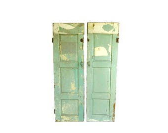 Pair of Vintage Green Wooden Raised Panel Shutters, Doors, Chippy Paint Shutters, Shabby Farmhouse Window Shutters, Architectural Salvage