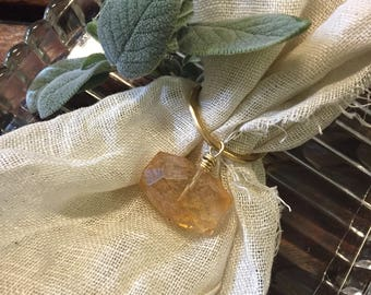 Golden Quartz Napkin ring/keyring