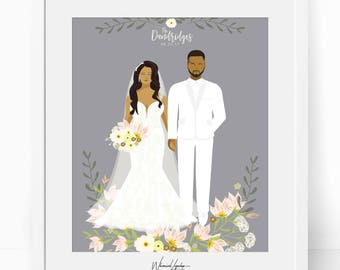 Digital Custom portrait illustration wedding portrait personalized sketch wedding bridesmaid gift wed illustration printable print wall art