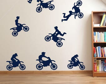 Motorbike Stunt Rider Sticker Set A61