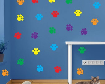 Stickers Cat Prints Paw Feet Children's Nursery Vinyl Art Decal Decor New B4