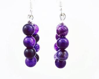 amethyst earrings purple earrings purple statement purple boho earrings purple bead earrings cute purple earrings purple hoops purple