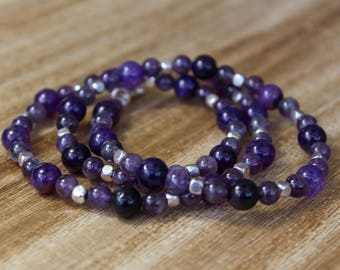 Purple Beaded Necklace Purple Gemstone Necklace Long Purple Necklace Amethyst Necklace Purple Boho Necklace Purple Stone Necklace Purple