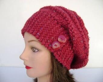Red Slouchy Beanie. Wool Hat. Warm Winter Hat. Womens Knit Beanie. Hand Knit.