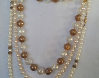 3 Pearl & Bead Necklaces, Long length