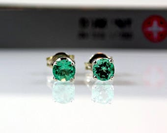 4mm Round Cut Natural Colombian Emeralds Sterling Silver Earrings