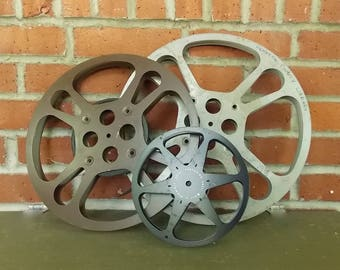 Film Reel- Vintage Metal Film Reels Various Sizes Old Hollywood Style Craft Projects Lighting Upcycling