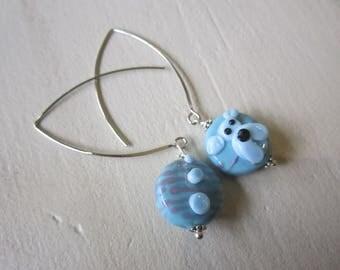 Asymmetrical earrings, Lampwork bead, purple blue striped