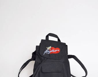 Vintage 90's Black Canvas Mini Backpack with Embroidered Heart and Cupid