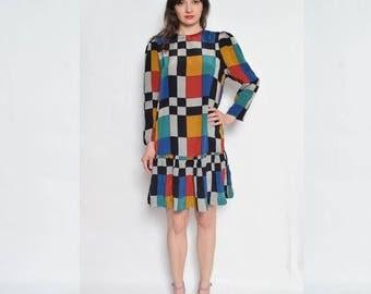 Vintage 80's Color Blocking Shift Dress / Long Sleeve Multi Color Dress