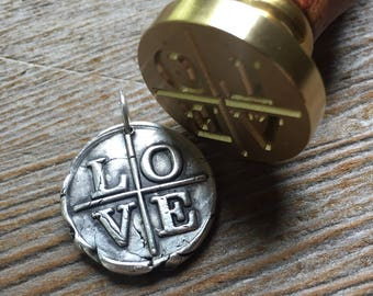 LOVE Pendant / Fine SILVER / Wax Seal Jewelry