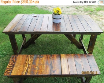 ON SALE 5' Rustic Kitchen Table & 2-Bench Set, Reclaimed Wood Table, Kitchen Table, Patio Table, Picnic Table, Restaurant Table, Barn Wood,