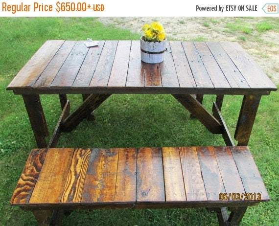 ON SALE  Rustic Kitchen Table  -Bench Set Reclaimed