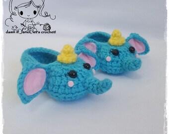 Elephant Baby Booties (newborn - 12 months) - PDF Crochet Pattern - Instant Download