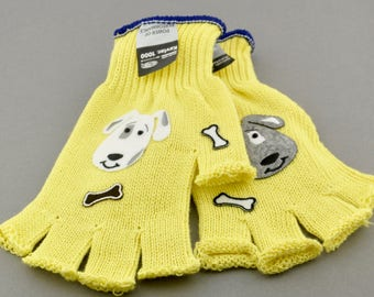 Kevlar Fingerless Gloves - Medium - Dogs and Rhinestones