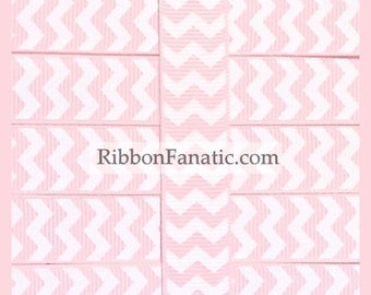 """40% off 5 yds 5/8"""" Light Baby Pink and White Chevron Striped Grosgrain Ribbon"""