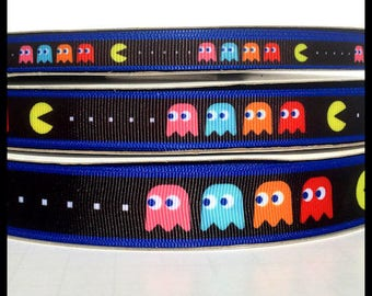 "5 yds  3/8""  5/8"" or 7/8"" Classic Atari Pac Man Retro Grosgrain Ribbon"