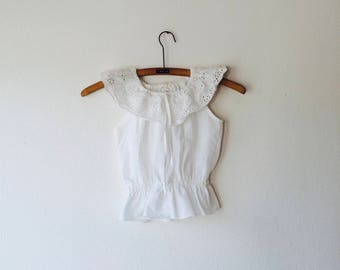 Childsize 1970s white cotton pin tuck embroidery top. Estimated size 3-4 years