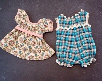 Vintage Doll Clothing Lot of 2 Items Floral Flower & Plaid Pattern Teal Pink ~ Quilting Upcycled Altered Art Supply Baby Shower Decor