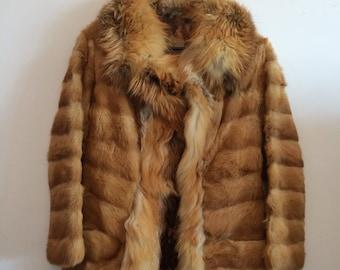 Small vintage red fox fur coat