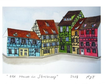 Old houses in Strasbourg art print France Alsace painting french half-timbered decor home french art printing original french architecture
