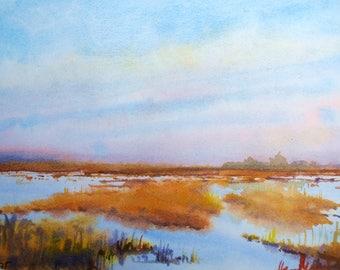"Landscape original watercolor ""Evening landscape"" painting spanish deco original wall art"