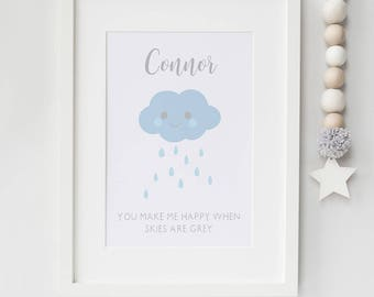 Personalised scandi style cloud print - scandi style nursery decor - modern nursery prints - gift for new baby - birth announcement