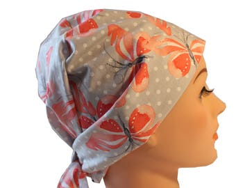 Scrub Hat Surgical Scrub Cap Chemo Vet Nurse Dr Hat European Pixie  Tie Back Style Soft Grey with Peach Butterflies   2nd Item Ships FREE
