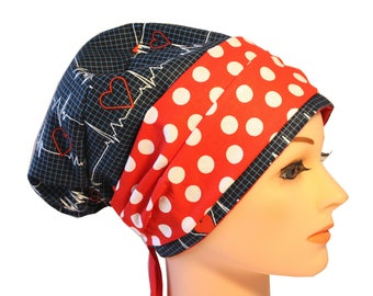 Scrub Hat Cap Chemo Bad Hair Day Hat  European BOHO Banded Pixie Tie Back Calling All Nurses EKG Red Band 2nd Item Ships FREE