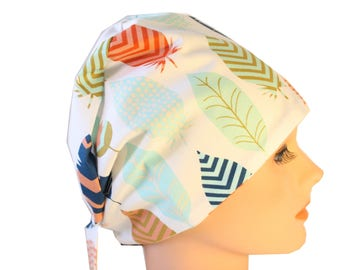 Scrub Hat Surgical Scrub Cap Chemo Chef Vet Nurse Dr Hat European Style Pixie Feathers Blue Peach Ceil Orange 2nd Item Ships FREE