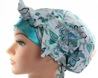 Scrub Hat Cap Chemo Bad Hair Day Hat  European BOHO Pixie Tie Back Denim Blue Teal Floral SATIN Band and Lined Tie Band 2nd Item Ships FREE