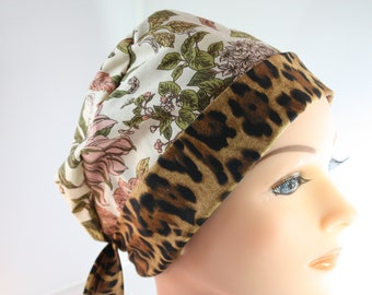 Scrub Hat Surgical Scrub Cap Chef Nurse Dr Chemo Hat Flirty Front Fold Pixie Sophisticated Pink Floral Animal Print P009 2nd Item Ships FREE