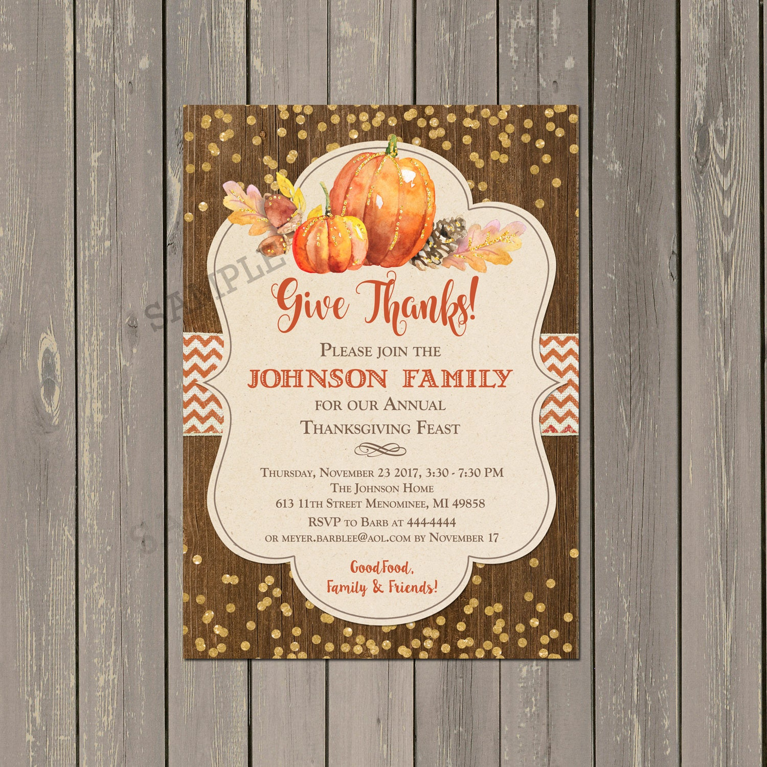 Thanksgiving Dinner Invitation Thanksgiving Party