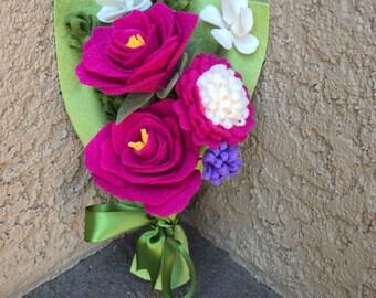 Dark Pink Felt Flower Bouquet