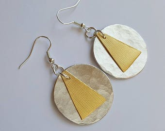Silver and golden earrings