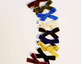 Velvet Schoolgirl Bow - velvet newborn headband - velvet bow