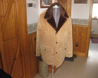 Mens fully lined Lakeshire Corduroy Pile Lined faux fur collar rancher cowboy vtg coat parka chore coat 48