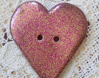 Rose gold glitter large button, heart shaped button, polymer clay heart button, unique button, jewellery, scrapbooking, sewing, crafts