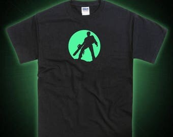 ON SALE Evil Dead Ash Chainsaw Tribute Glow in the Dark T-shirt