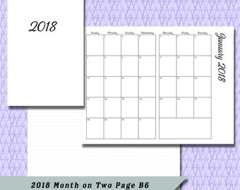 B6 2018 Month on Two Page DATED Calendar Insert