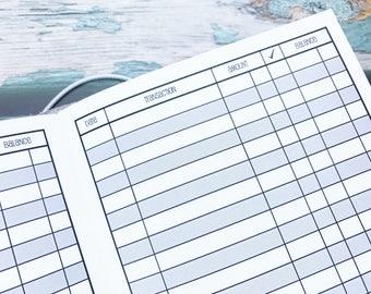Traveler's Notebook B6 Size Checkbook Register Style Inserts