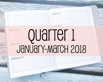 Traveler's Notebook B6 Size Week on Two Pages Grid Horizontal {Q1 | January-March 2018} #800-16