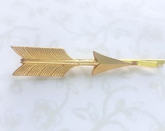 Gold Brass Arrow Hairpins, Two Bobby pins, Hair Clips, Boho, Modern, Rustic, Woodland, Nature, Native American