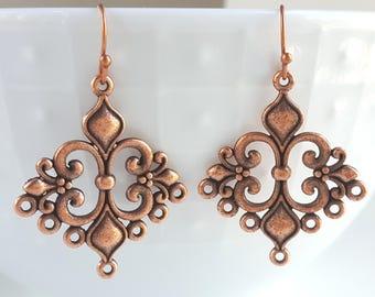 Copper Filigree Earrings Bridal Wedding Party Romantic Feminine Vintage Inspired