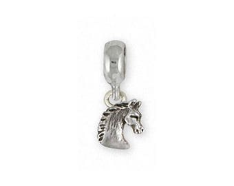 Horse Charm Slide Jewelry Sterling Silver Handmade Horse Charm Slide EQU16-PNS