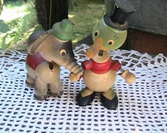 Nodders, Bobble Heads, Vintage Wooden Nodders, Set of 2, Goula, Spain