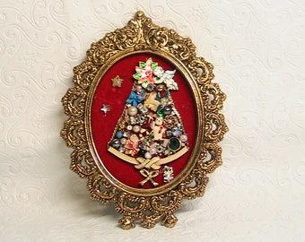 Mini Christmas Tree Vintage Jewelry Miniatures, Mini Hanging Christmas Decor