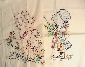 Holly Hobbie Quilt/Pillow Squares, Embroidered Holly Hobbie Square Panels